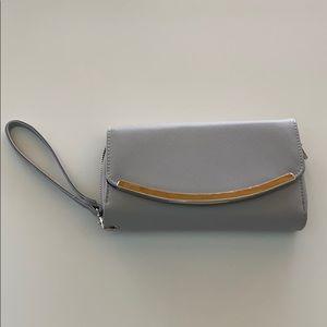 Silver / gray wristlet wallet clutch